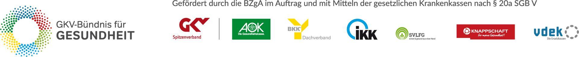 Logo des GKV-Bündnis für Gesundheit, sowie des GKV Spitzenverbandes sowie der Krankenkassen AOK, BKK, IKK, SVLFG, Knappschaft und VDEK