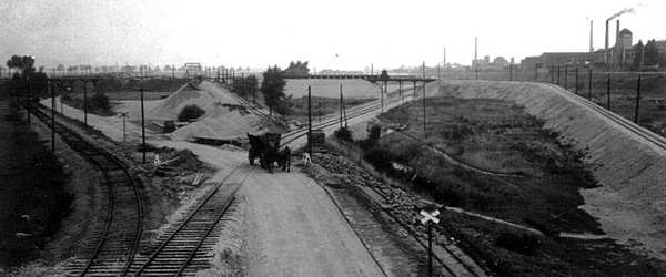 Bauarbeiten zum Lindenauer Hafen 1938: Schwarzweiß Abbildung
