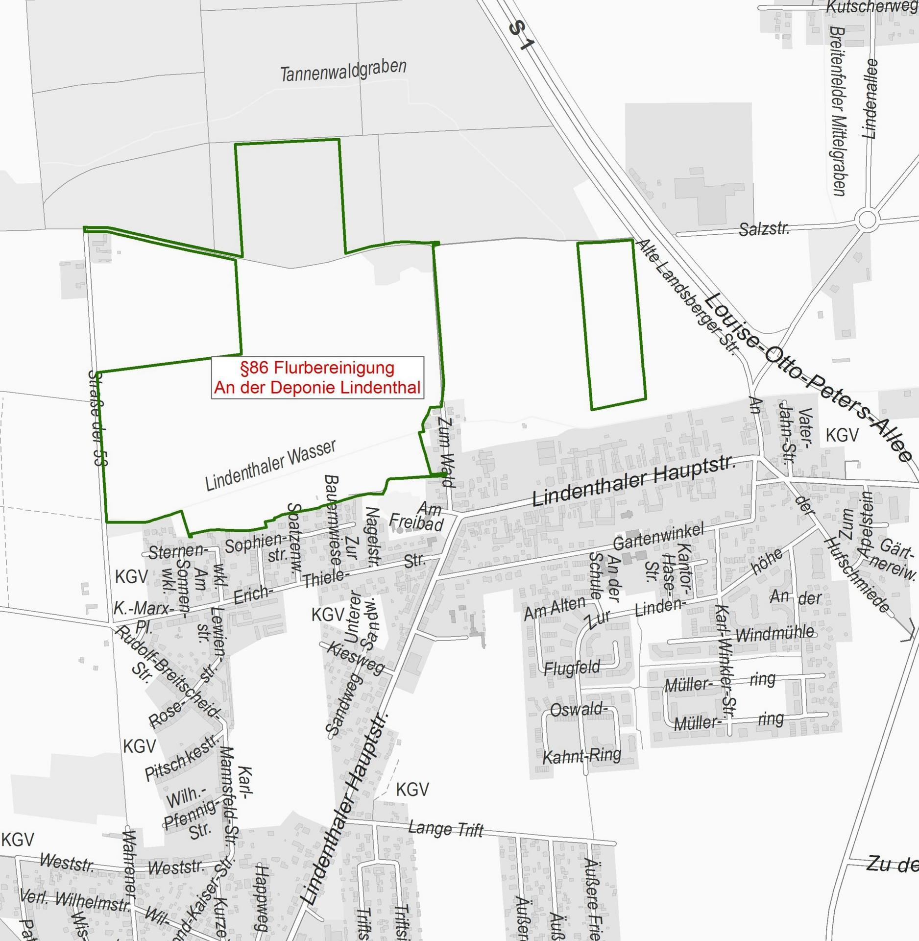 """Die Umringsgrenzen des Flurbereinigungsverfahrens """"An der Deponie Lindenthal"""" sind auf einer Karte dargestellt"""