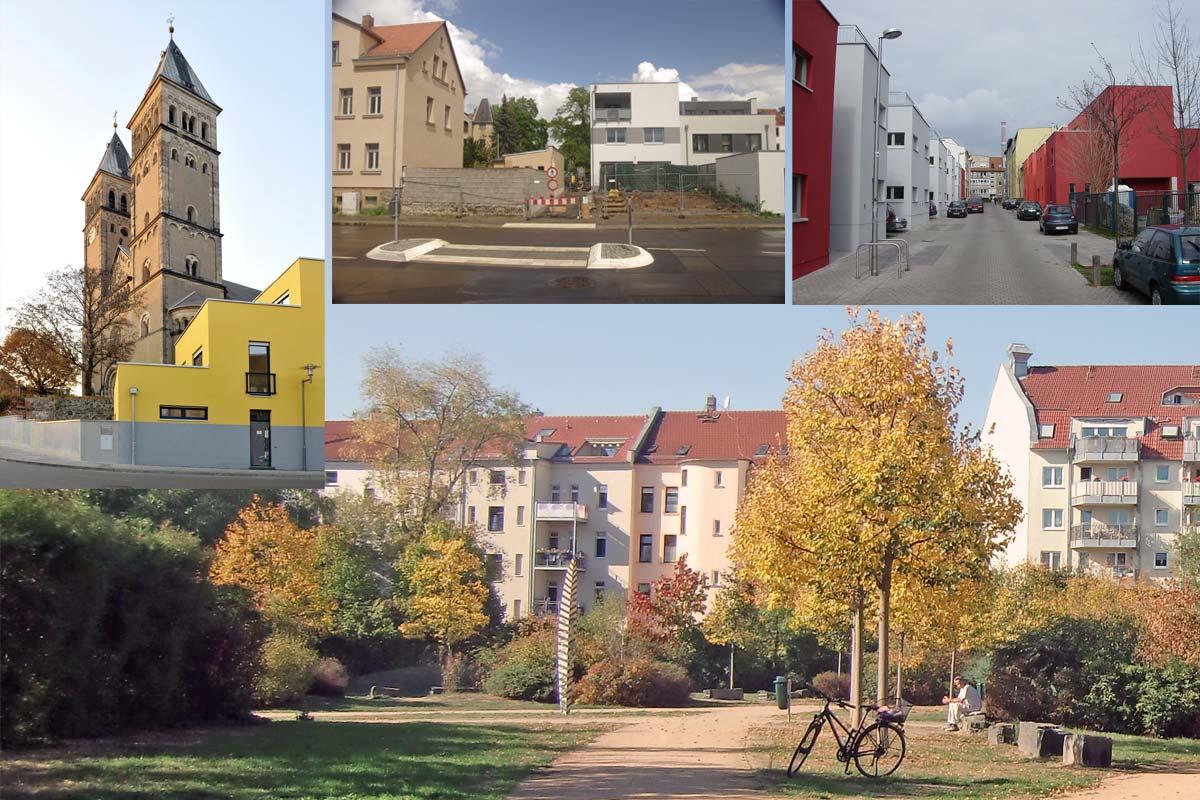Auf einer Freifläche inmitten von Wohnbebauung sind Fotos mit einer Kirche, einem Straßenbau und neugebauten Häusern angeordnet.