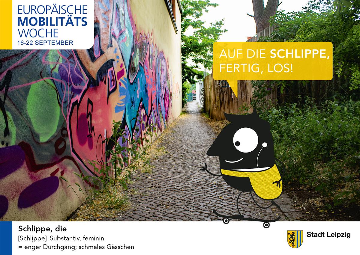 Postkarte mit einem schmalen Durchgang und einer Graffiti an der Wand. Dazu Text: Europäische Mobilitätswoche 2019.