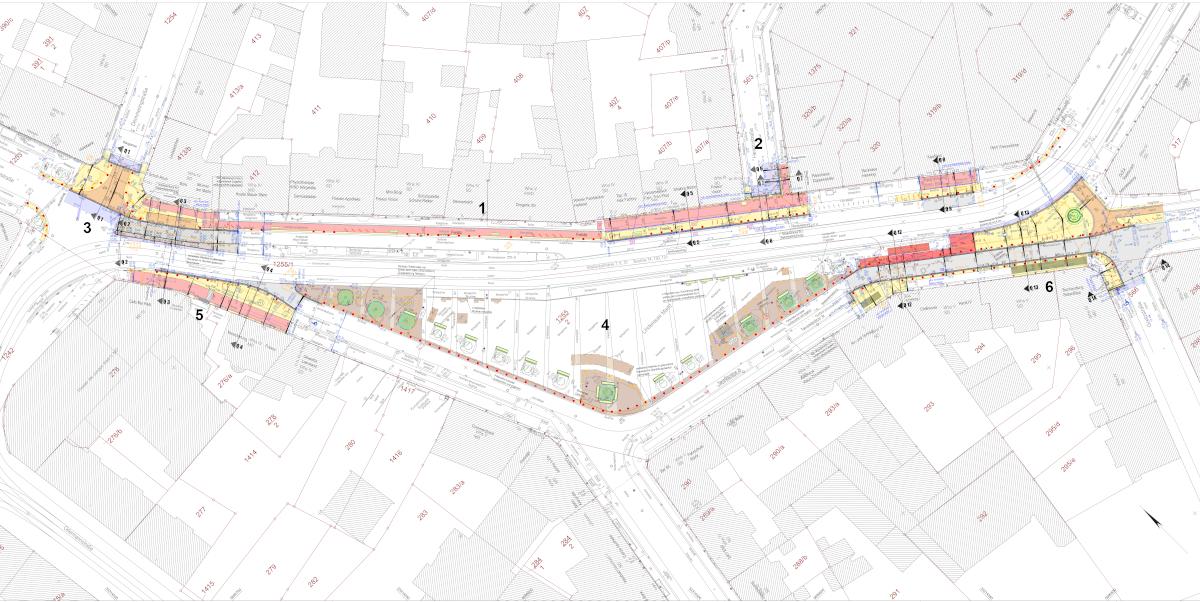 Der Plan zeigt die Teilbereiche der Planung am Lindenauer Markt. Die Teilbereiche sind nummeriert und werden unter der Grafik beschrieben.