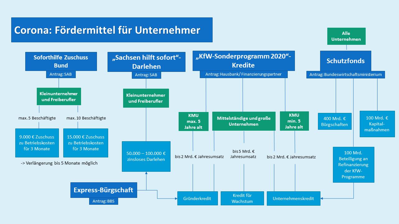 Infografik mit allen Förderprogrammenfür unterschiedliche Unternehmensstrukturen und mit Angabe der Förderhöhen