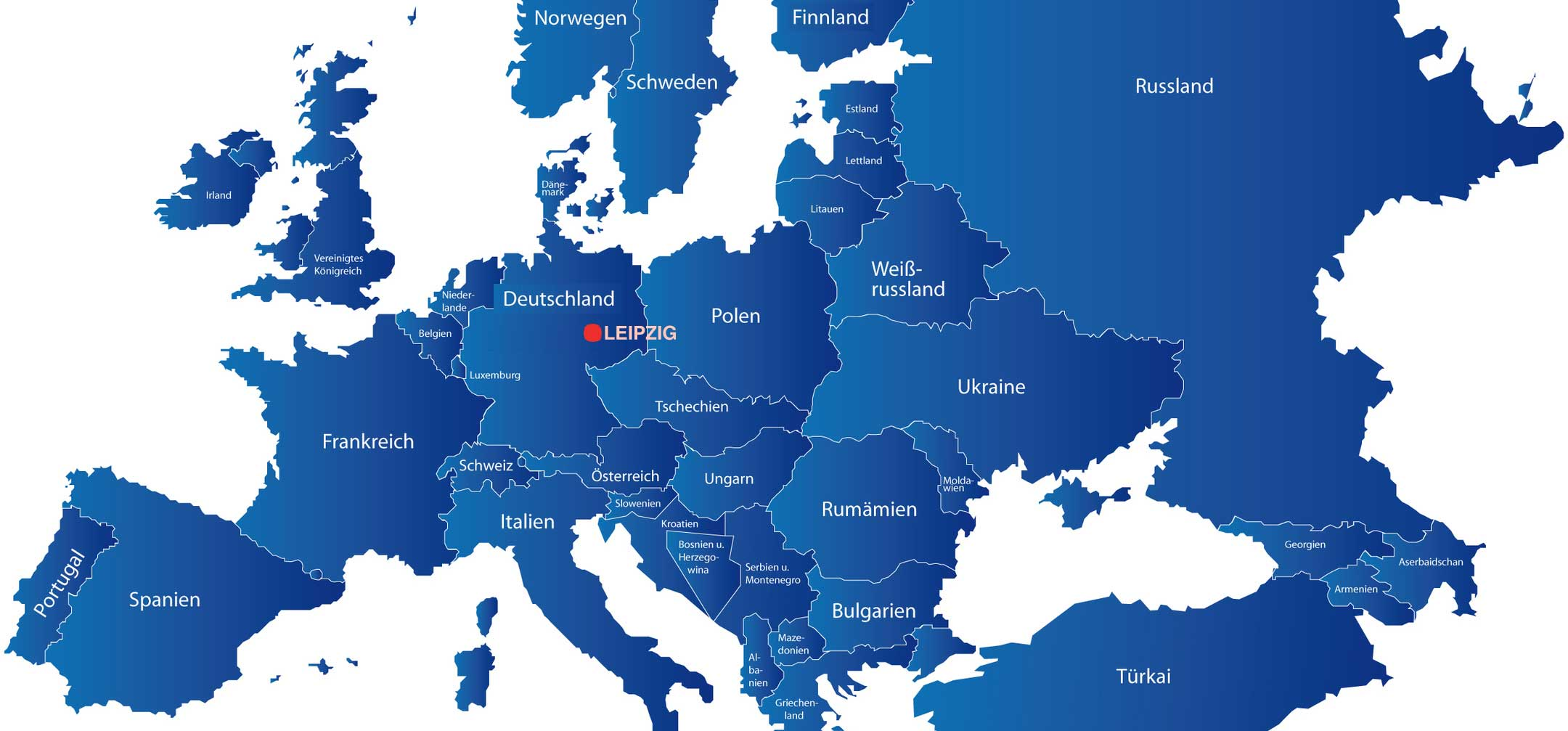 Europakarte mit Leipzig im Mittelpunkt von Europa