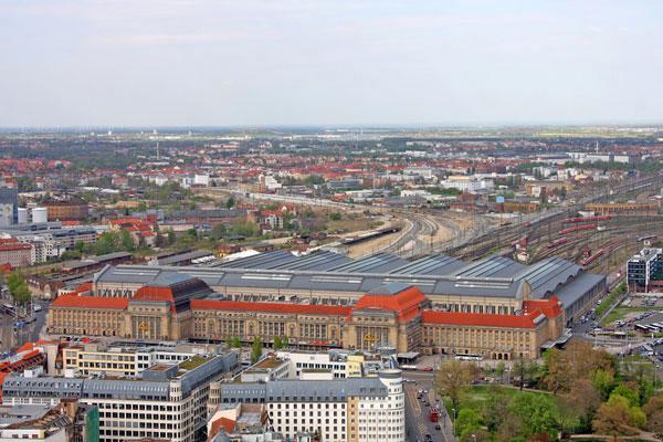 Luftbild vom Hauptbahnhof Leipzig